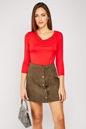 Cowl Neck Red Jersey Top