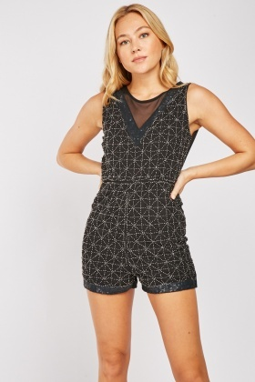 Sequin Bead Embellished Playsuit