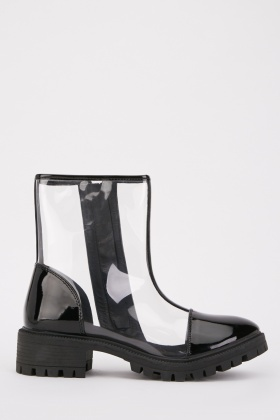 Transparent Strap Ankle Boots