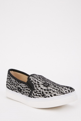 Lace Overlay Slip On Shoes