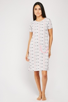 Printed Single Pocket Front Night Dress