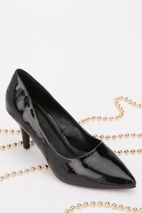 PVC Court Pointed Toe Heels