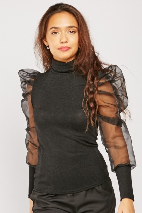 Roll Neck Mesh Sleeve Top