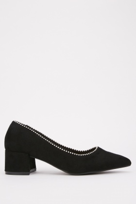 Studded Block Heel Suedette Shoes
