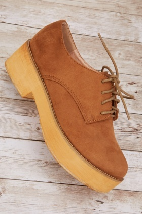 Suedette Wooden Effect Shoes