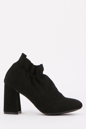 Ruched Block Heel Ankle Boots