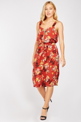 Flower Print Drawstring Waist Dress