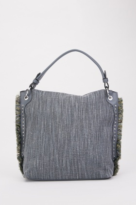 Frayed Edge Textured Tote Bag