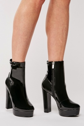 Black High Shine High Heel Boots