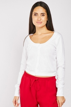 Button Front Cotton White Top