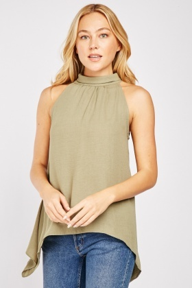 Curved Hem Halter Top