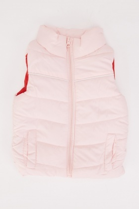 Quilted Pink Girls Gilet