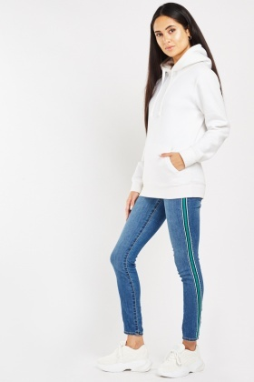 Striped Panel Jeans Jeggings