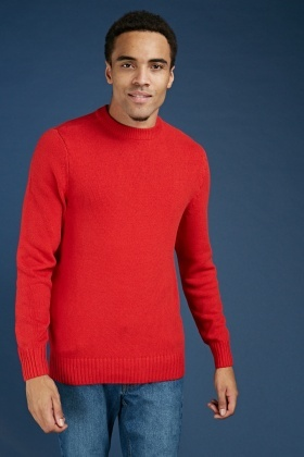 Casual Ribbed Edging Knit Jumper