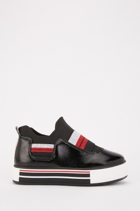 Metallic Elasticated Strap High Top Trainers