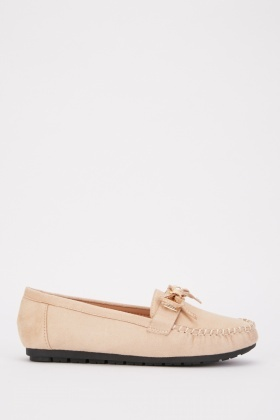 Bow Trim Suedette Loafers