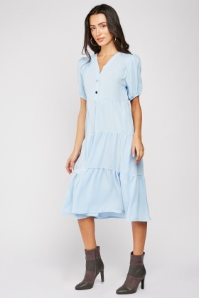 Button Front Midi Smock Dress