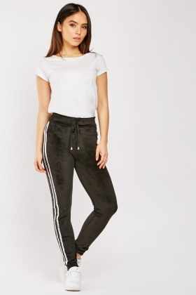 Metallic Side Velour Joggers