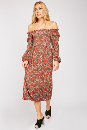 Paisley Print Shirred Off Shoulder Dress
