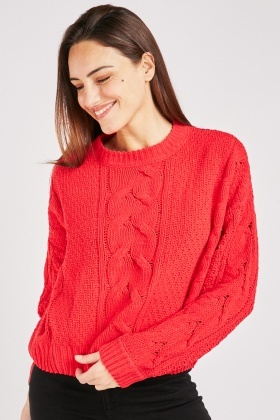 Chenille Cable Knitted Jumper