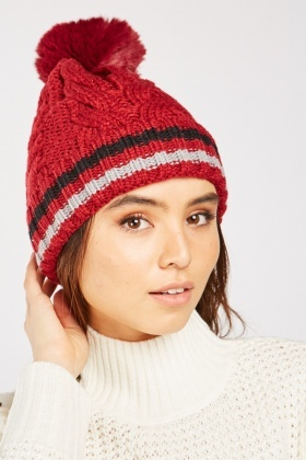 Faux Fur Cable Knit Beanie Hat