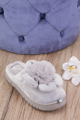 Fluffy Flower Top Soft Indoor Slippers