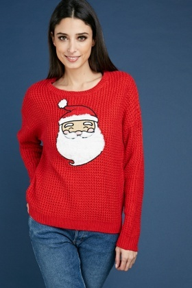 Santa Claus Applique Chunky Jumper