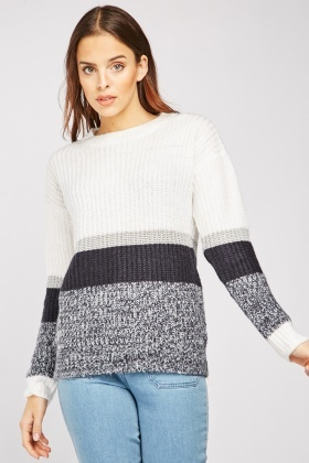 Colour Block Chunky Knitted Jumper