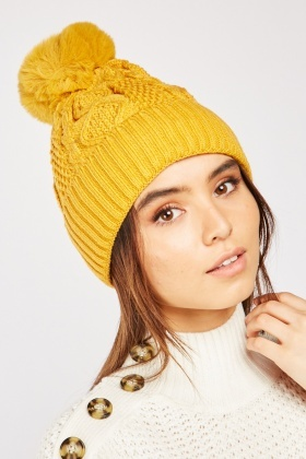 Faux Fur Knit Beanie Hat