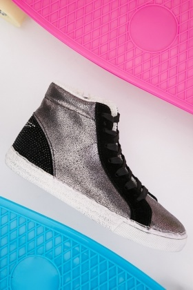 Glittery Suedette Contrast High Top Trainers
