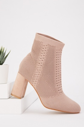 Perforated Textured Sock Ankle Boots