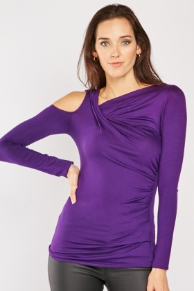Purple Draped Cut Out Top