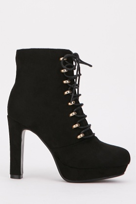 Suedette Lace Up Heeled Boots