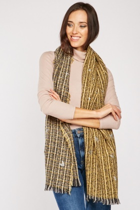 Glitter Contrast Woven Plaid Scarf