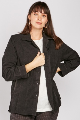 Suedette Button Front Shacket