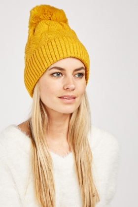Weaved Knit Beanie Hat