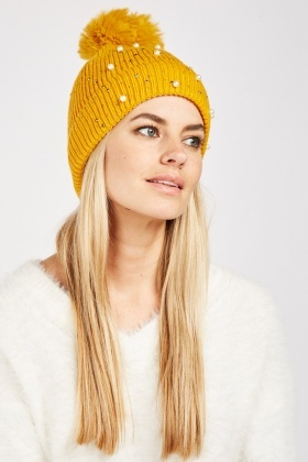 Faux Pearl Contrast Beanie Hat