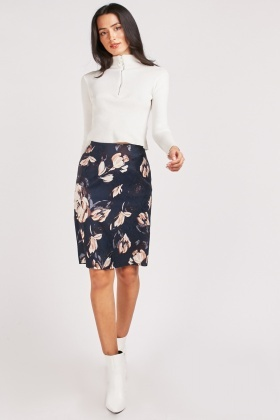 Devore Flower Contrast Skirt