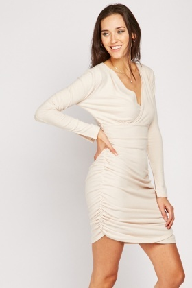 Gathered Ruched Wrap Dress