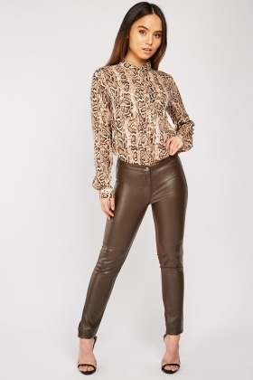 Faux Leather Front Trousers