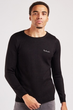 Stitched Logo Mens Knitted Jumper