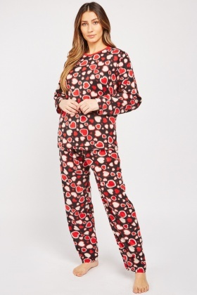 Heart Print Cotton Fleece Pyjama Set $6.90
