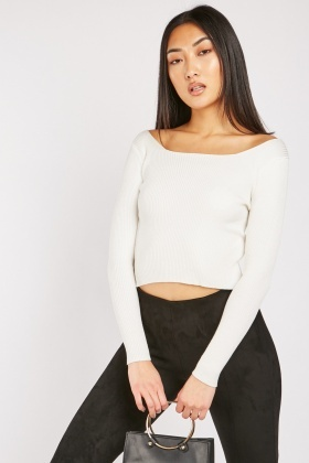 Open Neck Ribbed Knit Top $6.90