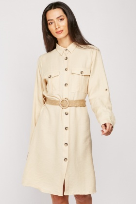 Weaved Belted Cotton Shirt Dress $6.90