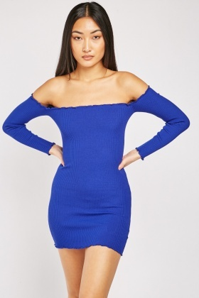 Gathered Edge Ribbed Bodycon Dress