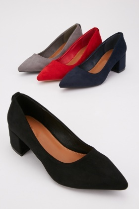 Faux Suede Block Heel Courts