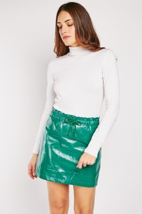 Green Vinyl Mini Skirt