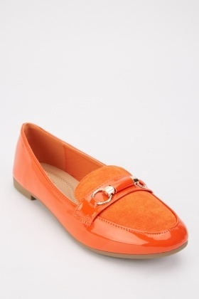 Orange Suedette Contrast Loafers