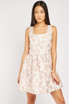 Rose Flower Embroidered Skater Dress