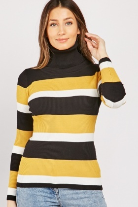 Turtle Neck Striped Knit Top